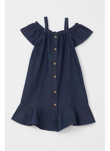 DeFacto Kız Çocuk Kısa Kollu Askılı Jean Elbise Mavi